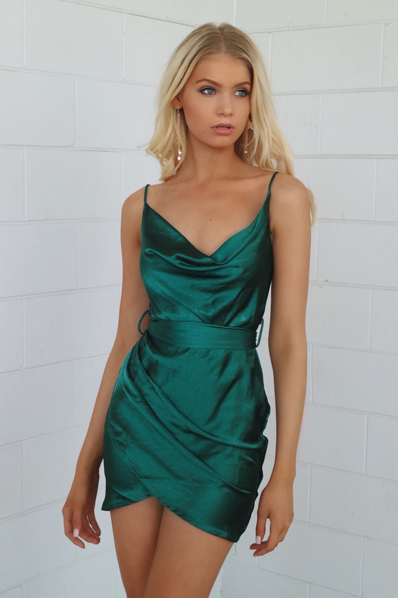 Sienna Satin Dress - Emerald - Runway Goddess