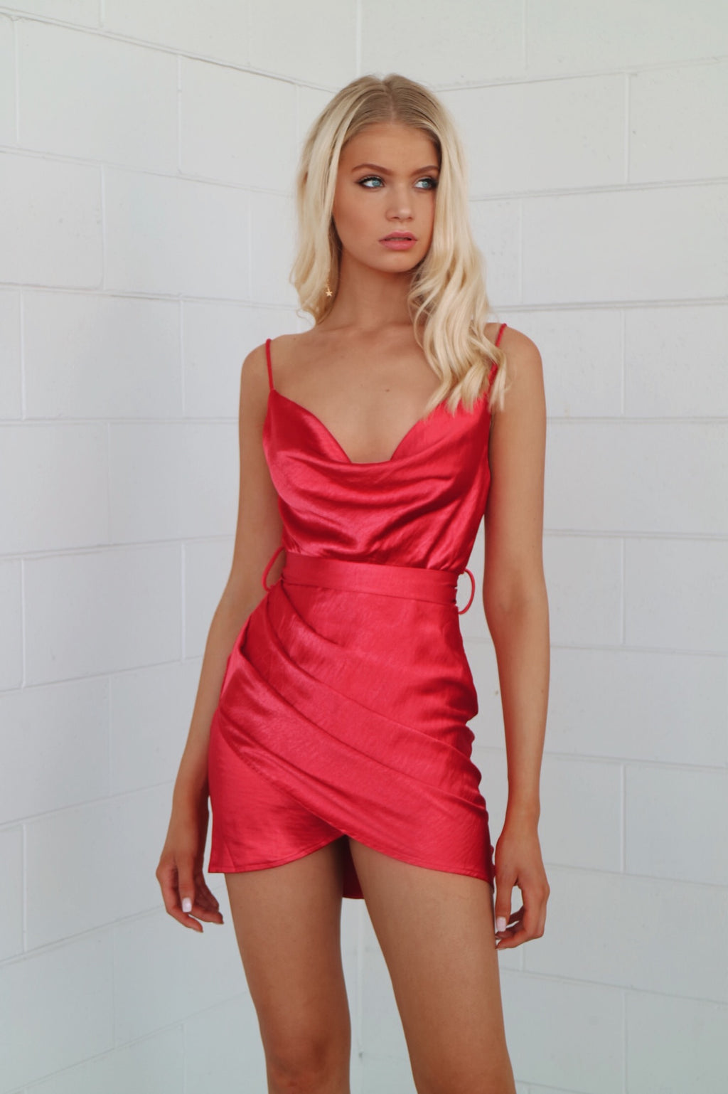 Sienna Satin Dress - Red - Runway Goddess