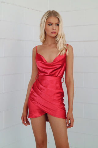 Sienna Red Satin Mini Dress
