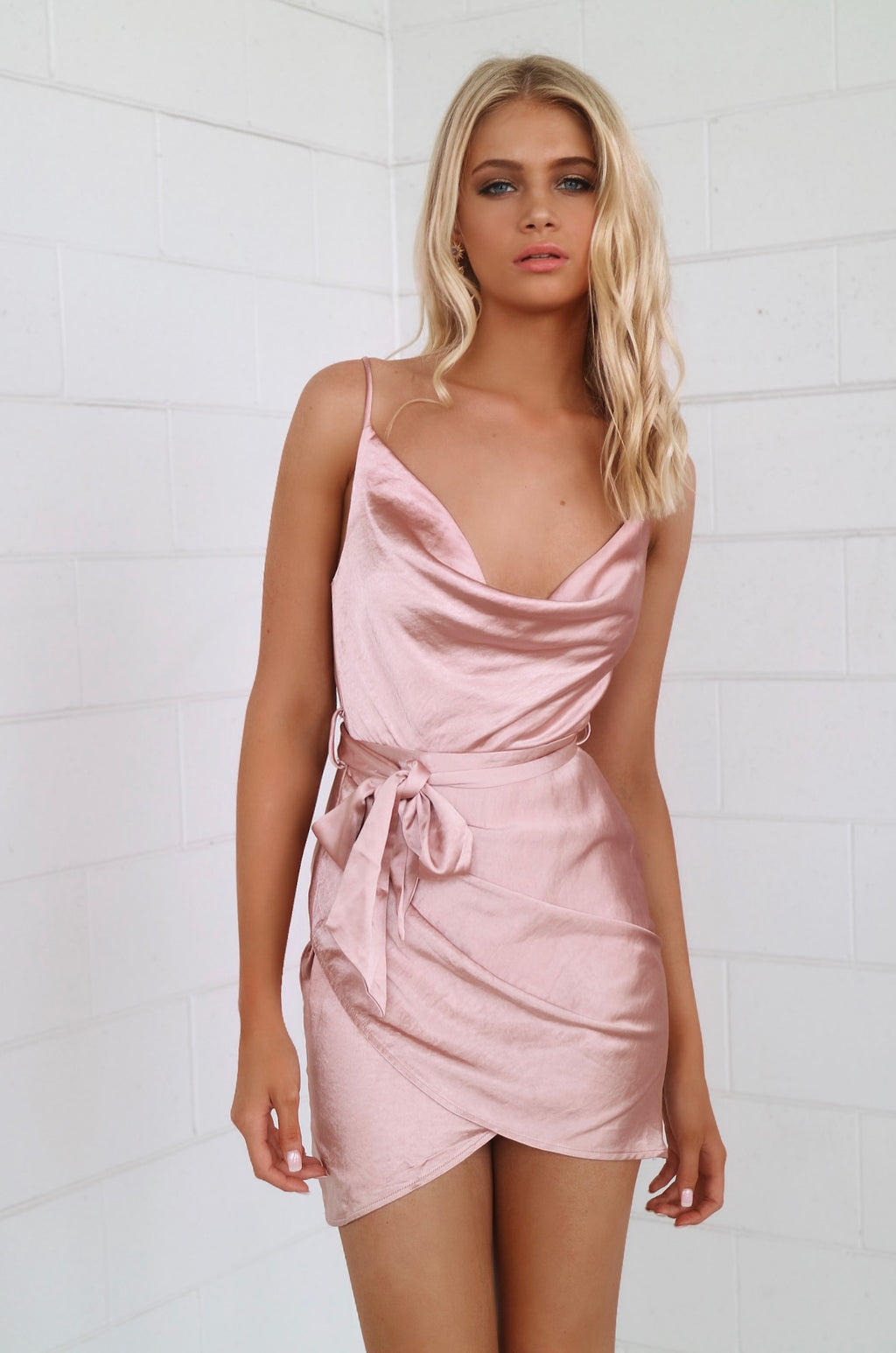 Sienna Satin Dress - Rose Gold - Runway Goddess