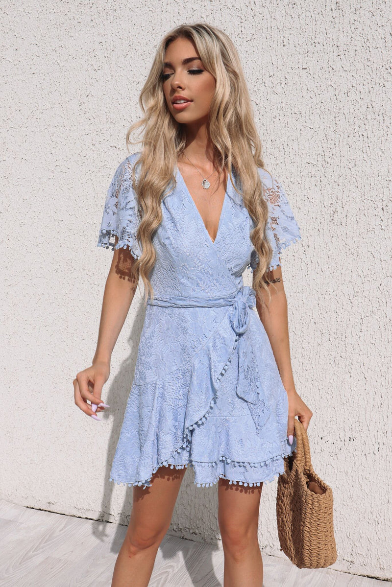 Something Sweet Lace Dress - Baby Blue - Runway Goddess