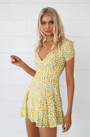 Splendour Yellow Floral Dress