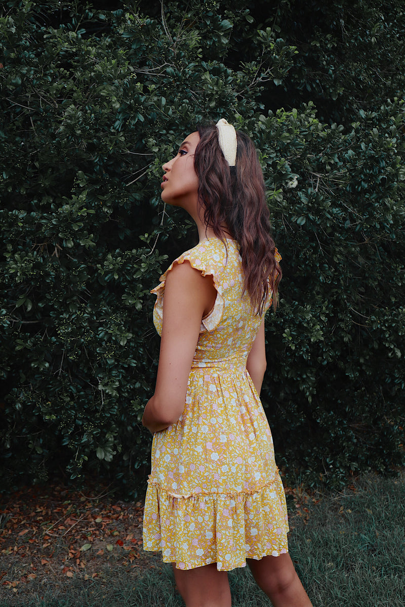 Sunrays Yellow Floral Dress - Runway Goddess