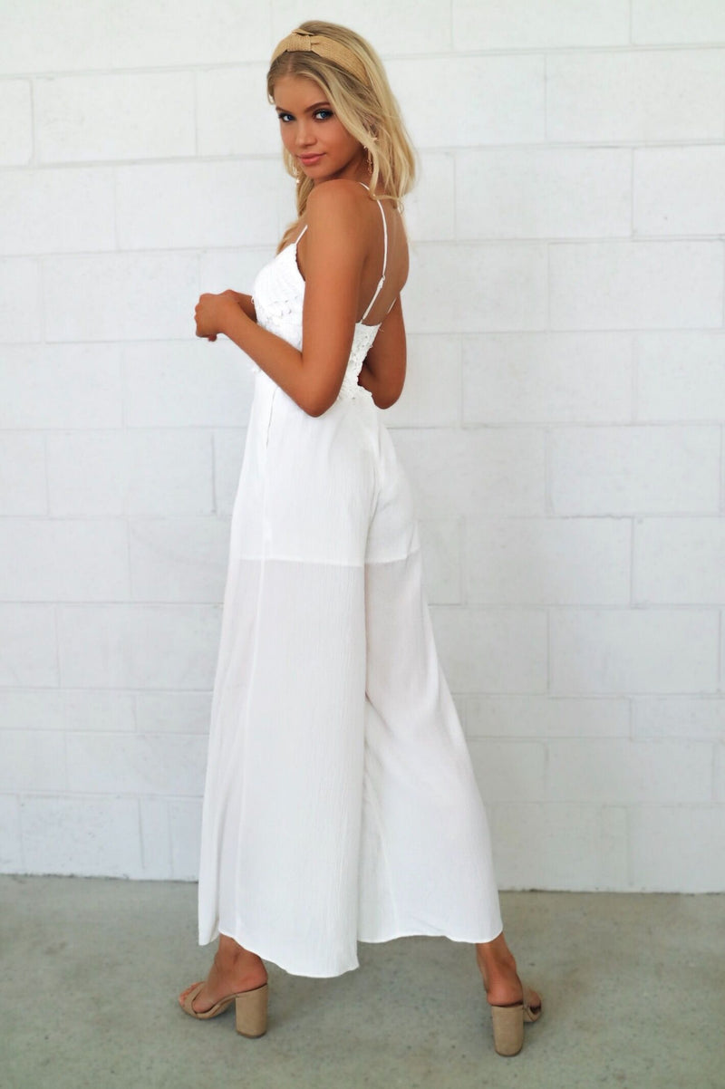 Valerie Lace Jumpsuit - White - Runway Goddess