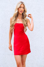 Vida Satin Mini Dress - Red