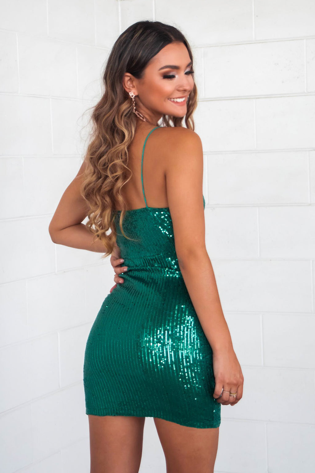Vivian Sequin Mini Dress - Emerald - Runway Goddess