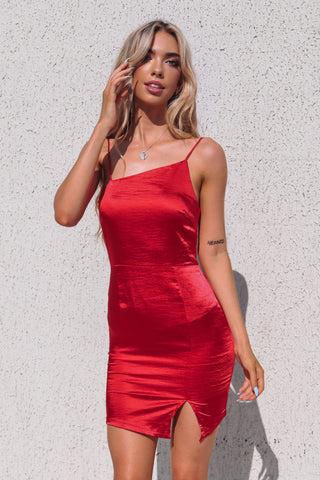 Vixen Red Satin Mini Dress
