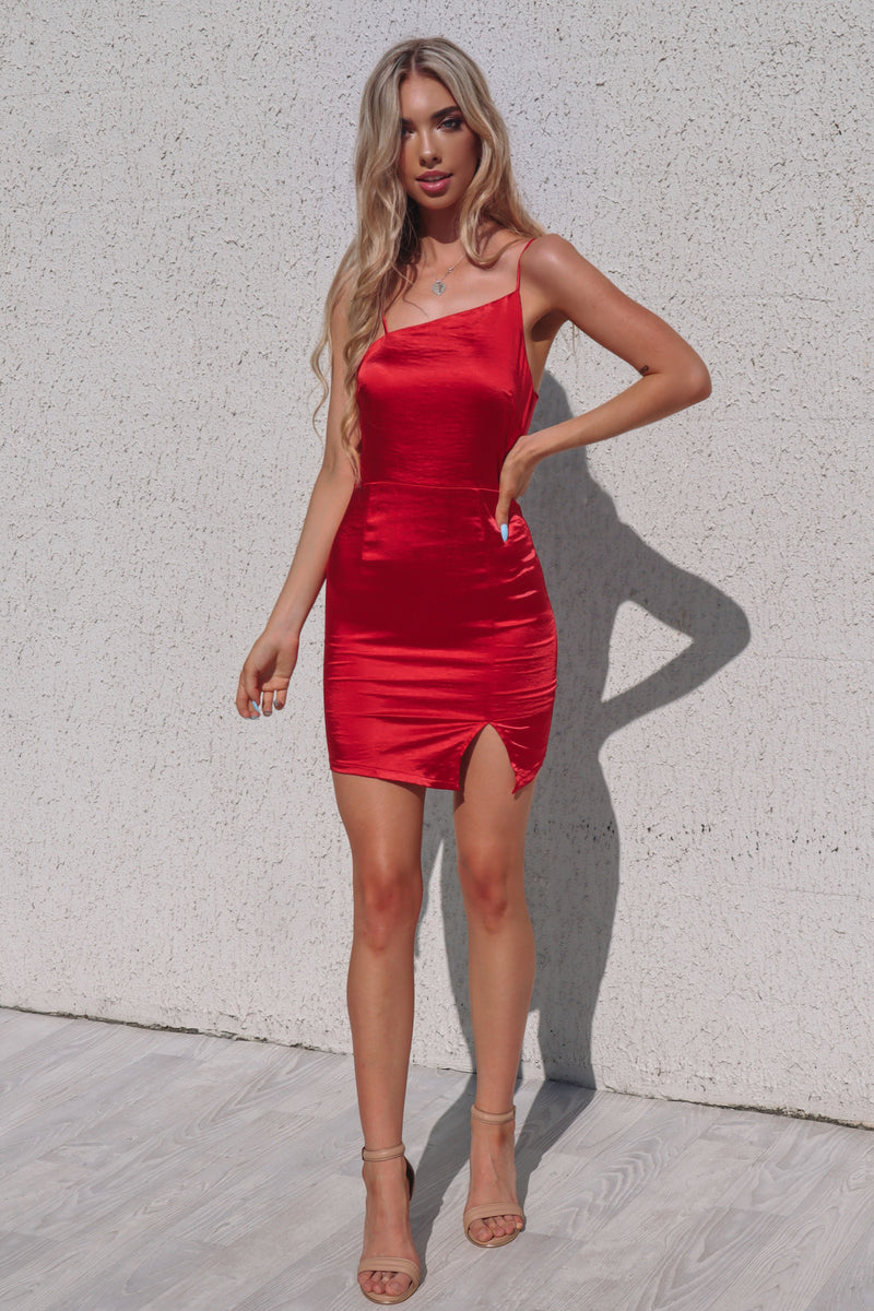 Vixen Satin Mini Dress - Red - Runway Goddess