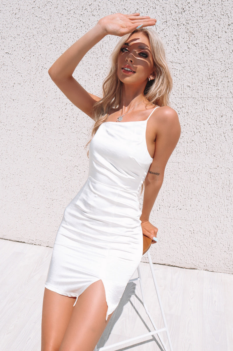 Vixen Satin Mini Dress - White - Runway Goddess