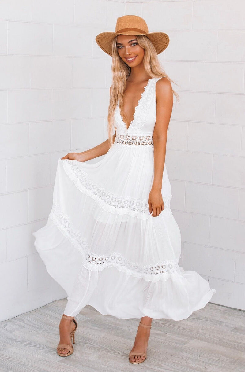 White Fawn Maxi dress - Runway Goddess