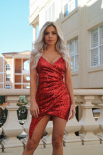 Wildheart Sequin Dress - Red - Runway Goddess