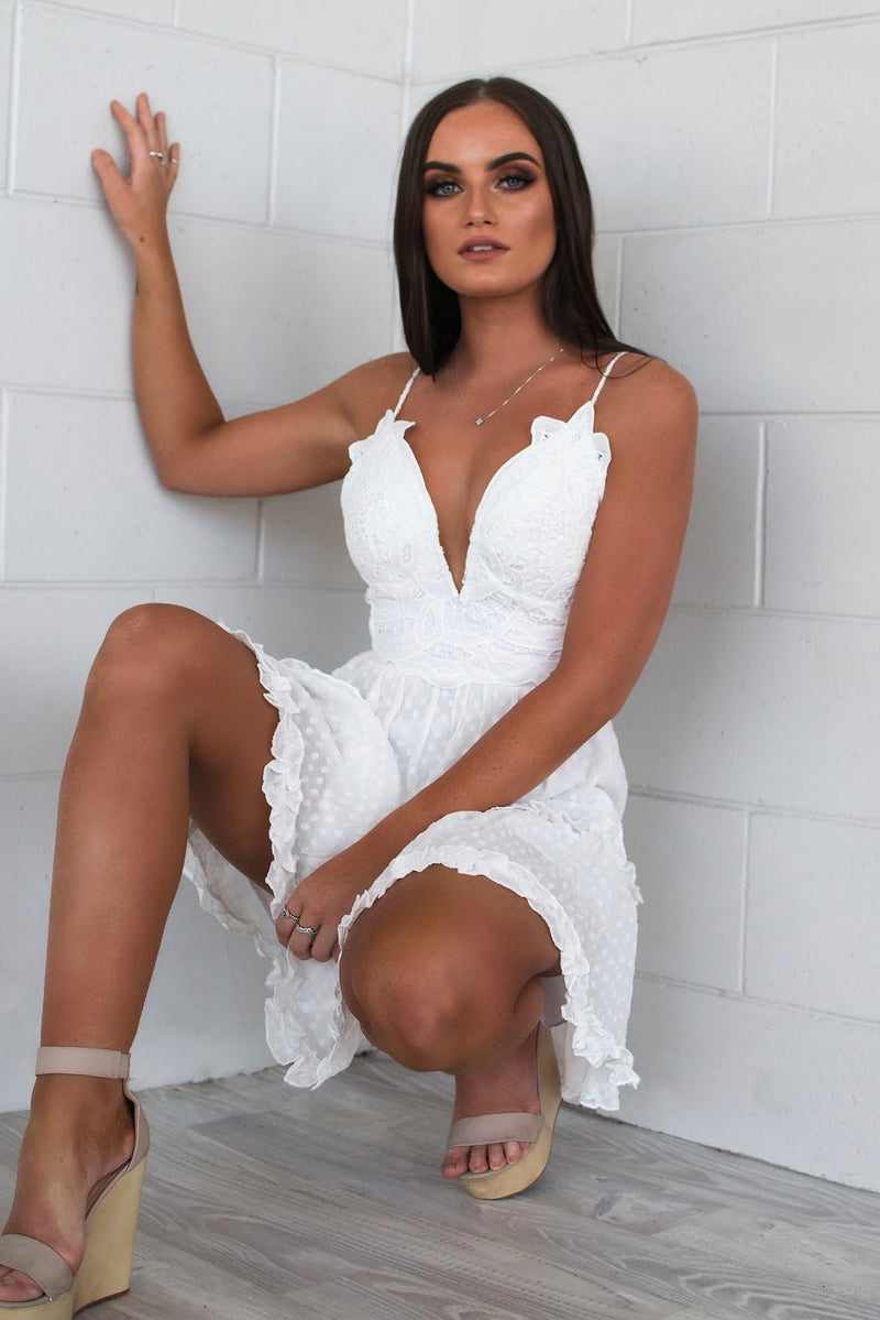 Willow White Lace Dress - Runway Goddess
