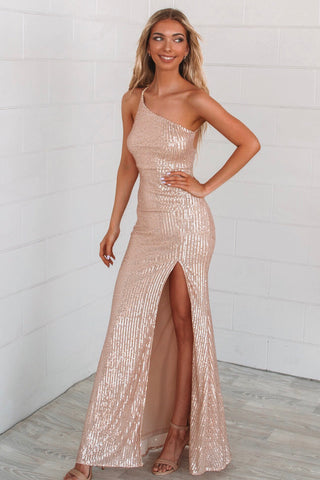 Yasmine Rose Gold Formal Dress