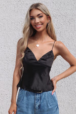 Zara Satin Top - Black - Runway Goddess