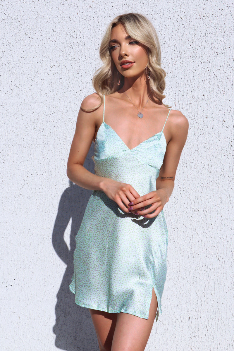 Zara Satin Slip Dress - Mint Floral