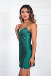Zara Satin Slip Dress - Emerald Green - Runway Goddess