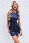 Aura Sequin Mini Dress - Navy
