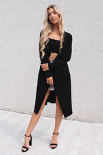 Black Waterfall Cardigan - Runway Goddess