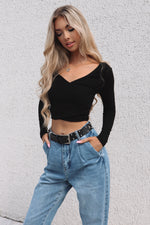 Black Long Sleeve Crop - Runway Goddess