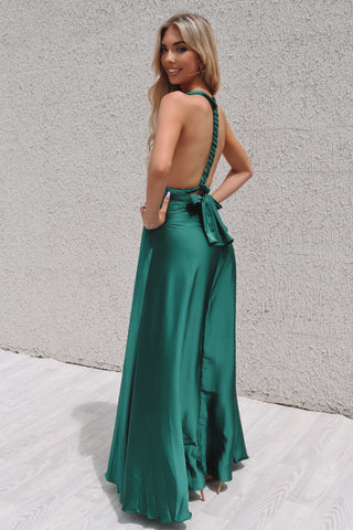 Emerald Satin Multiway Dress