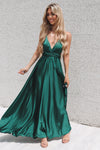 Satin Multiway Dress - Emerald - Runway Goddess