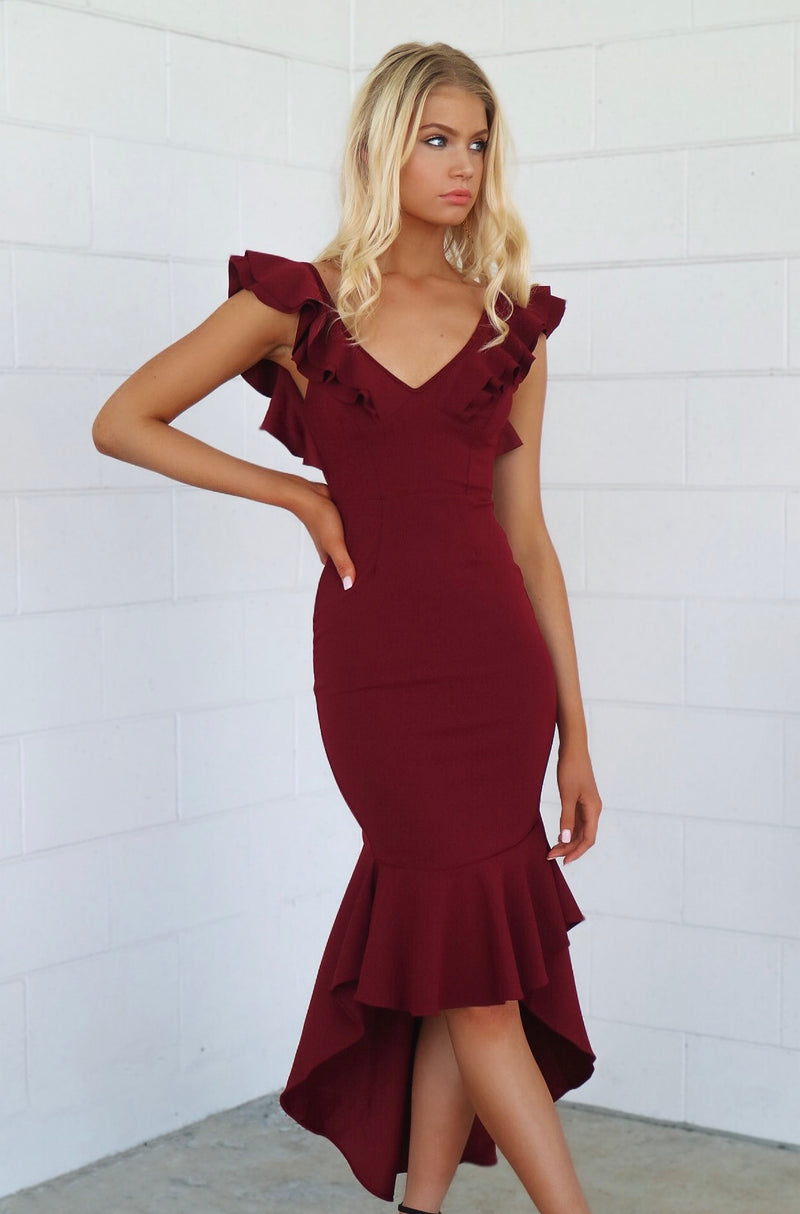 Showstopper Formal Gown - Wine Red - Runway Goddess