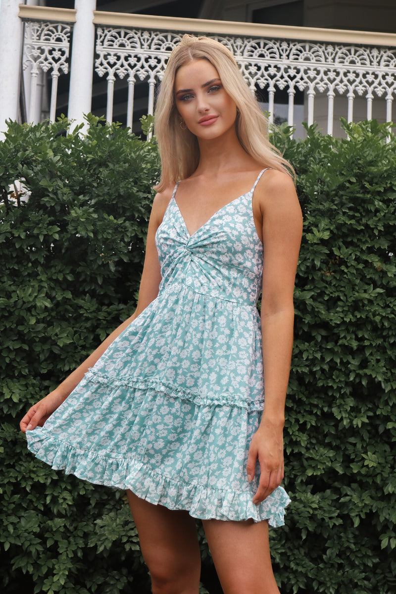 Aqua Floral Wanderlust Dress - Runway Goddess