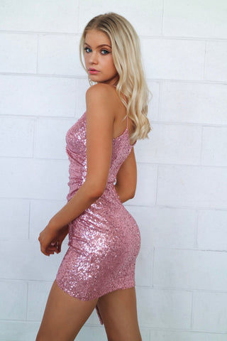 Wildheart Pink Ruched Sequin Dress