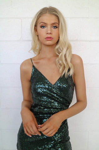 Wildheart Emerald Green Sequin Dress