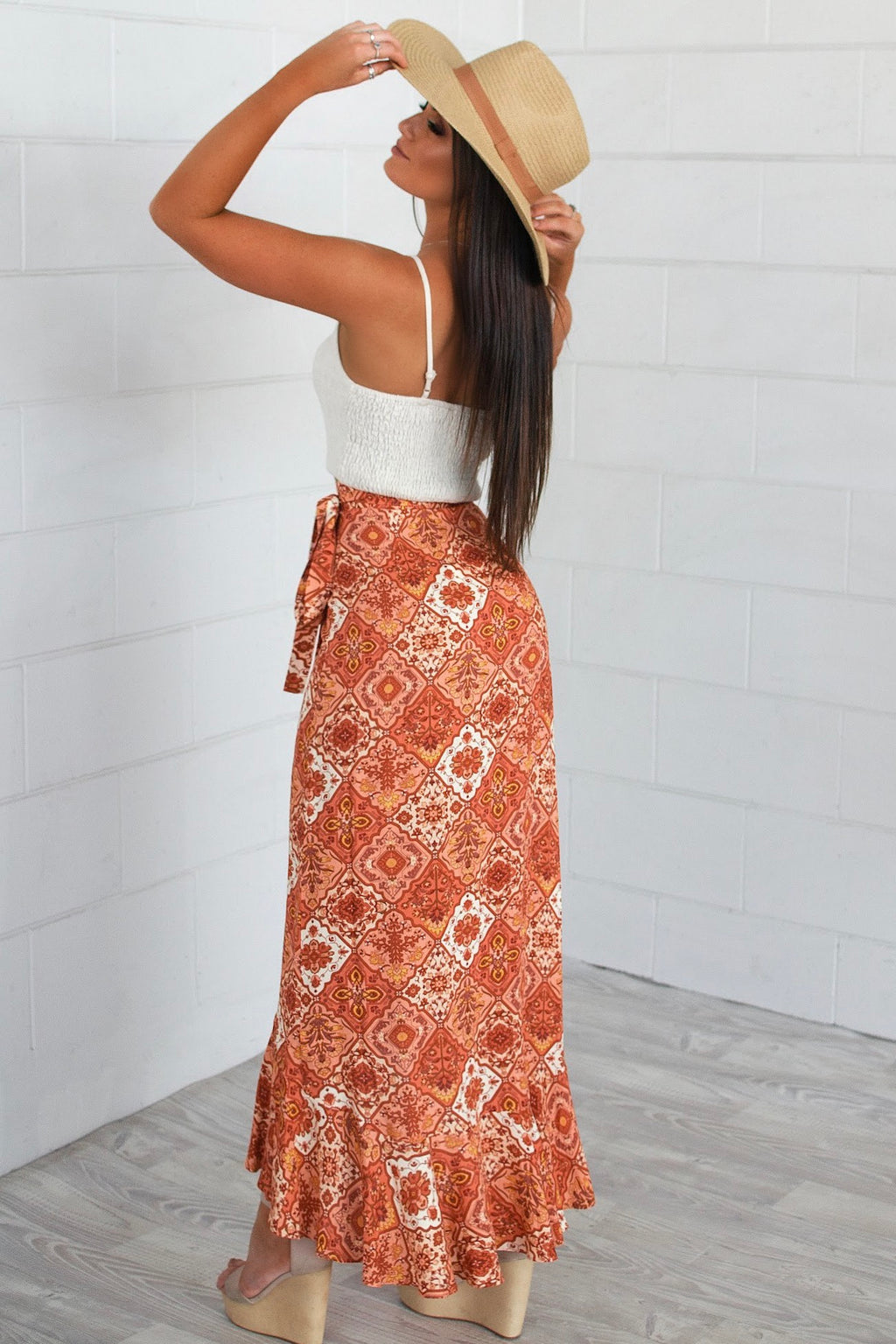 Phoenix Orange Wrap Skirt - Runway Goddess