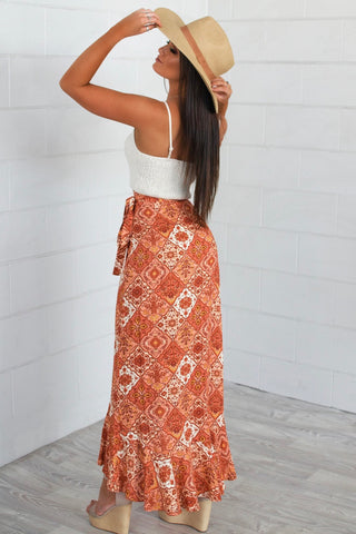Phoenix Orange Frilly Wrap Skirt
