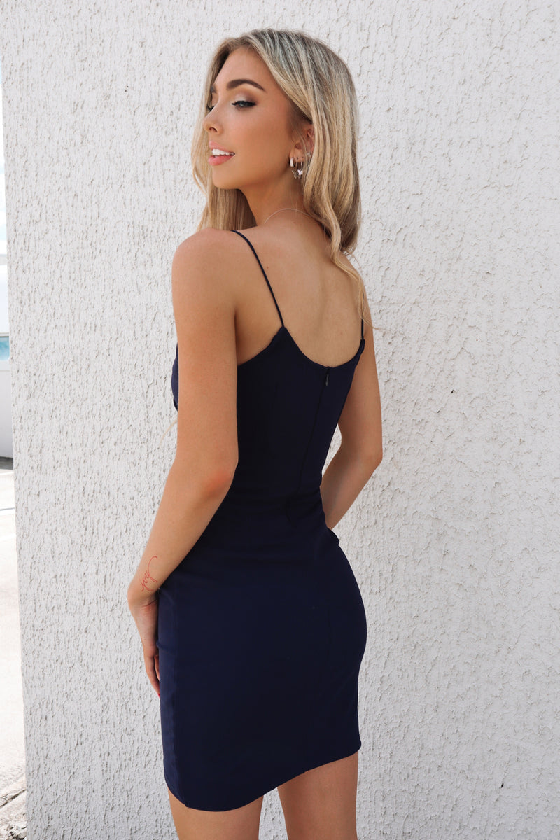 Jordyn Bodycon Dress - Navy - Runway Goddess
