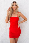 Kendall Mini Mesh Dress - Red - Runway Goddess