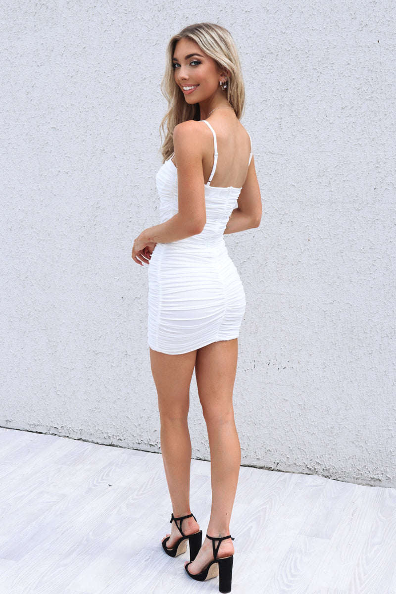 Kendall Mini Mesh Dress - White - Runway Goddess