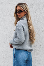 Turtleneck Knitted Jumper - Grey - Runway Goddess
