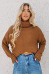 Turtleneck Knitted Jumper - Rust - Runway Goddess