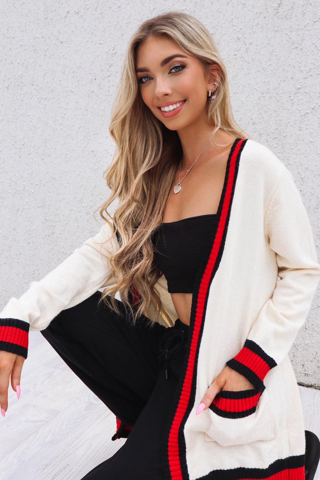 Preppy White Cardi - Runway Goddess