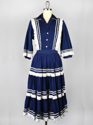 Vintage 1950's Navy Blue and White Fiesta Dress