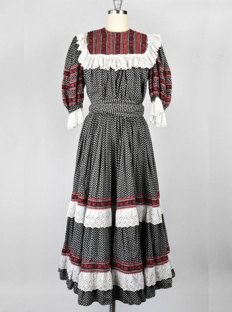 Prairie Dress in Black, Red, and White