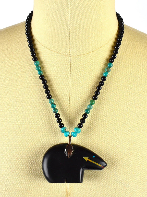 Vintage Zuni Black Bear Fetish Pendant with Turquoise by Navajo Artist Henry Yazzie