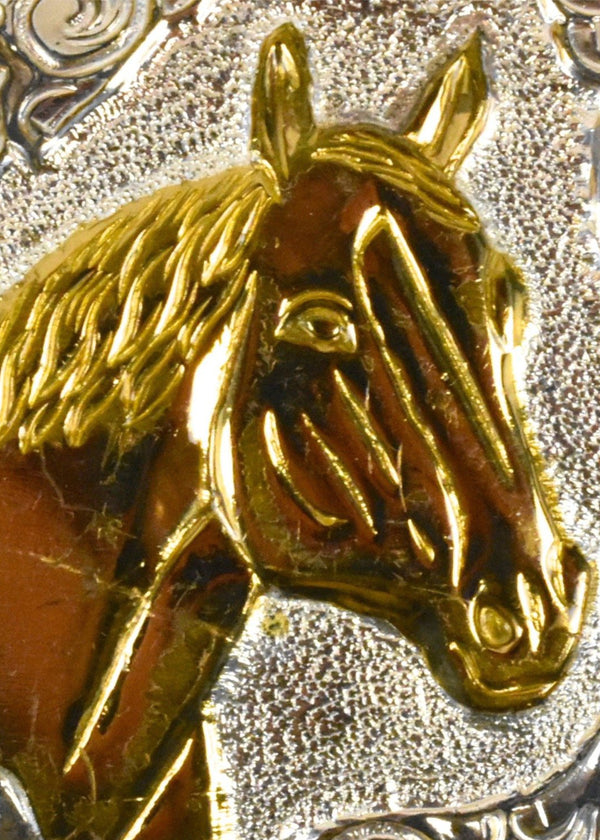Ornate Crumine Horse Head with Filigree Belt Buckle - Silver Plate on Bronze