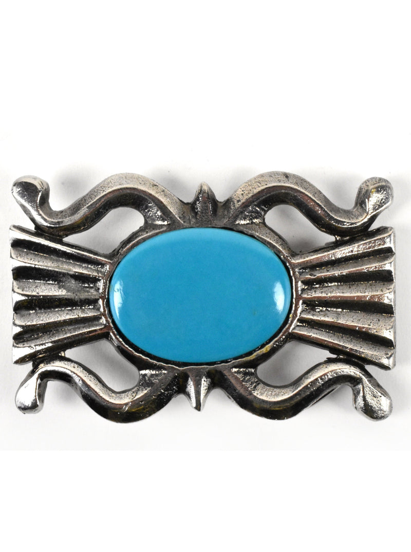 Vintage 1974 Concho Belt Buckle with Blue Center Stone by James Lind - Wyoming Studio Art Works