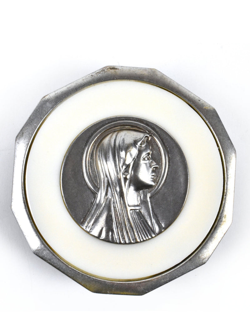 Vintage Belt Buckle with the Silhouette of the Virgin Mary