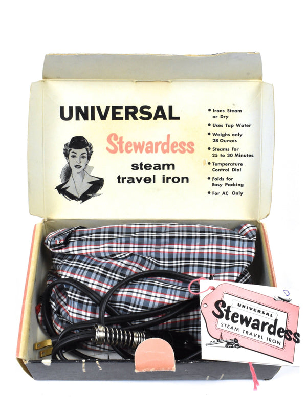 Vintage 1960's Universal Stewardess Steam Travel Iron with Original Box