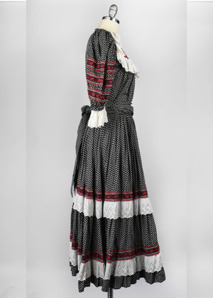 Vintage Prairie Dress in Black, Red, and White