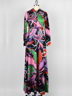 1970's Psychedelic Print Maxi Dress by Don Luis de España