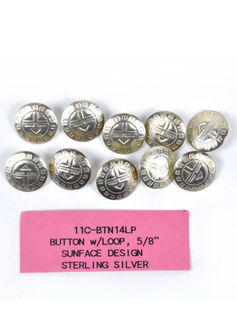 Ten Sterling Silver Sun Kachina Buttons