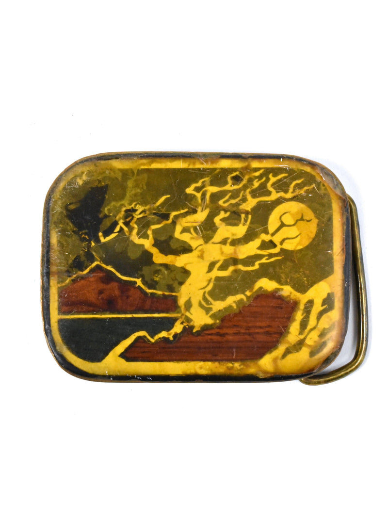 1970's Belt Buckle with Mountain and Tree Scene from Harmony Metal - Made in Colorado, USA