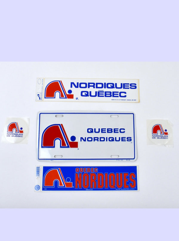 Vintage Quebec Nordiques Lot - License Plate, 2 Bumper Stickers & 2 Smaller Stickers