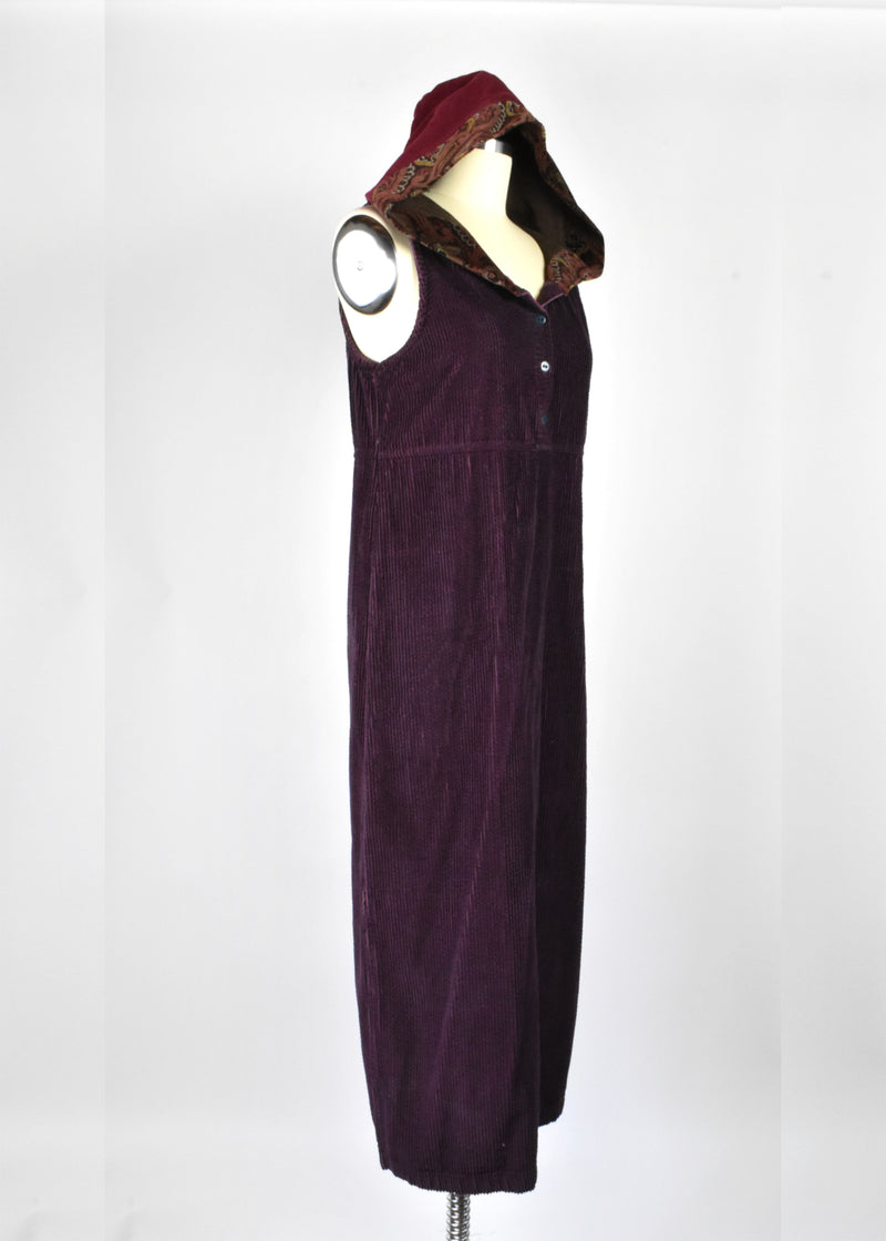 1990's Sleeveless Corduroy Dress with Hood